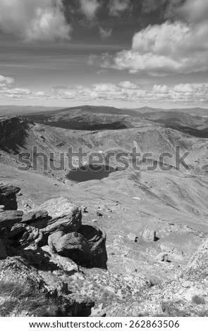 Landscape with lake in Soria, Picos de Urbion in Spain. Source of Duero river - stock photo