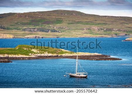 landscape with lake of Isle of Skye, Scotland, UK - stock photo