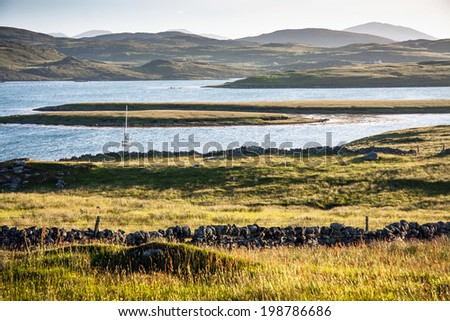 landscape with lake of Outer Hebrides, Scotland, UK - stock photo