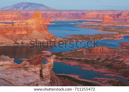 Landscape with Lake Powell at sunset