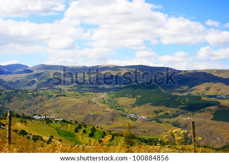 Landscape with mountains and clouds in Turkey.
