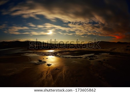 landscape with muddy volcanoes from Romania by night - stock photo
