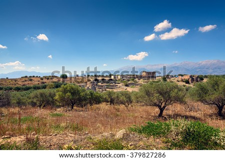Landscape with old ruins near ruins of Aptera on Crete island, Greece - stock photo