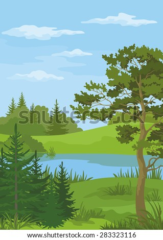 Landscape with Pine, Fir Trees and Green Grass on the Shore of a River Lake under a Blue Cloudy Sky.  - stock photo