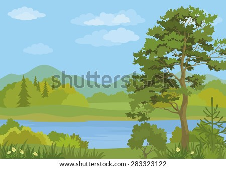 Landscape with Pine, Fir Trees, Grass and Flowers on the Shore of a Mountain Lake under a Blue Cloudy Sky.  - stock photo