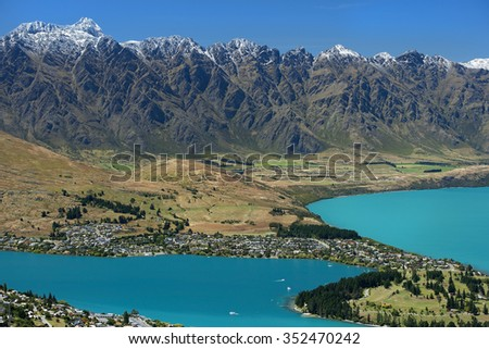 landscape with Queenstown city and lake Wakatipu from the top, New Zealand - stock photo