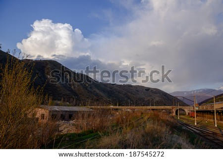 Landscape with railroad tracks - stock photo