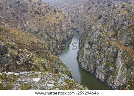 Landscape with river and cliffs in Arribes del Duero. Spain. Horizontal - stock photo
