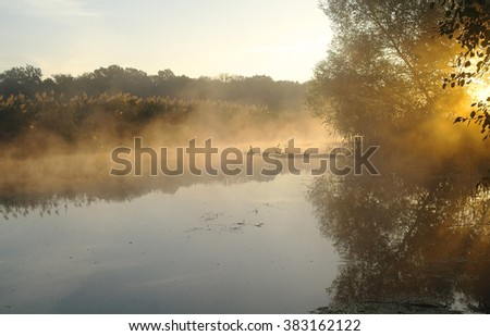 Landscape with river at early morning time - stock photo