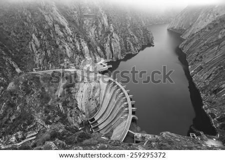 Landscape with river, cliffs and a dam in Spain. Aldeadavila - stock photo