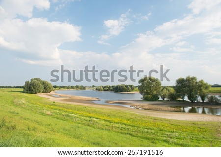 Landscape with river in Holland - stock photo