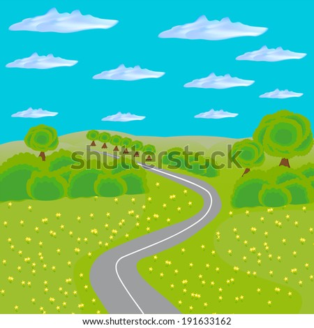 landscape with road through field and forest