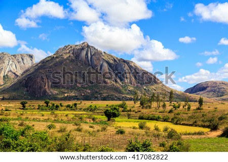 Landscape with rock formation in central Madagascar on a sunny day - stock photo