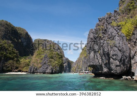 Landscape with rocks and sea, Palawan, Philippines