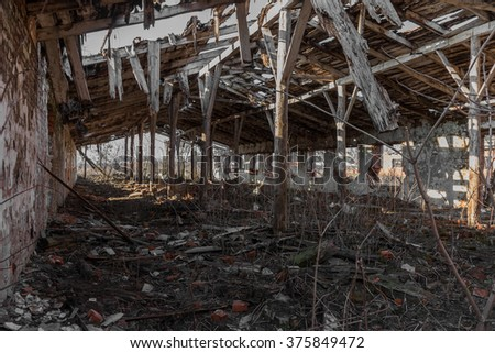 Landscape with ruins of old industrial buildings for farm animals. Interior of an abandoned pigsty plunder and waste. The collapse of economy. Selective focus. As background for design of crisis