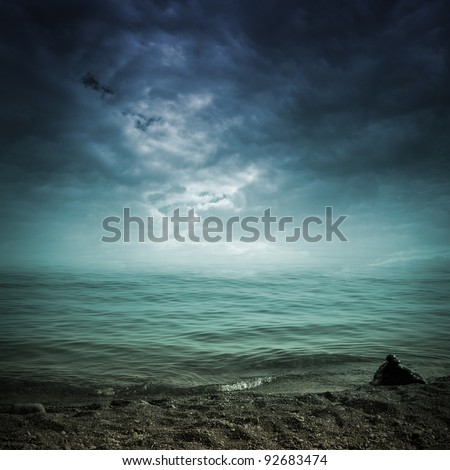 landscape with see and dramatic sky - stock photo