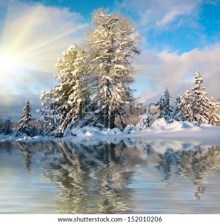 landscape with snow-covered tress near frozen lake - stock photo