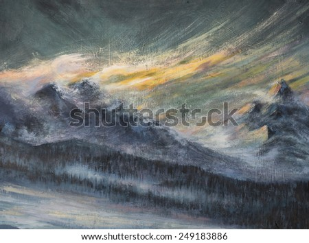 Landscape with snowy mountains and dark clouds.Picture created with acrylic colors. - stock photo