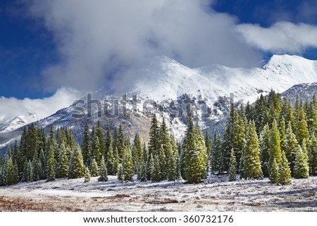 Landscape with snowy mountains and forest, Colorado, USA - stock photo