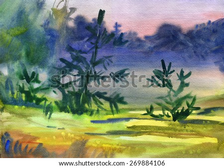 Landscape with spruce. Watercolor. - stock photo