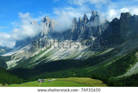 Landscape with the Geislergruppe in South Tyrol, Italy The Geislergruppe are a mountain chain pertaining to the Dolomites