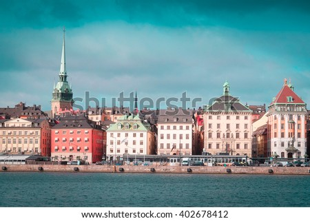 Landscape with the image of Stockholm, Sweden - stock photo