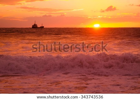 Landscape with the image of storm on the sea - stock photo