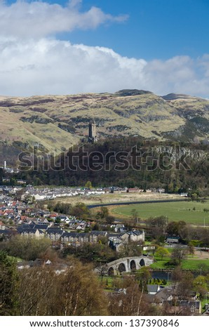 Landscape with the Old Stirling Bridge, Abbey Craig and Wallace - stock photo