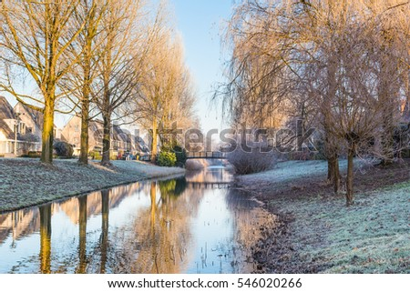 Landscape with trees covered with frost and reflecting in the water