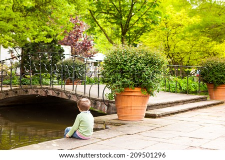 Landscaped flower garden, Urban Park at spring time - stock photo