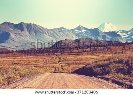 Landscapes on Denali highway, Alaska. Instagram filter. - stock photo