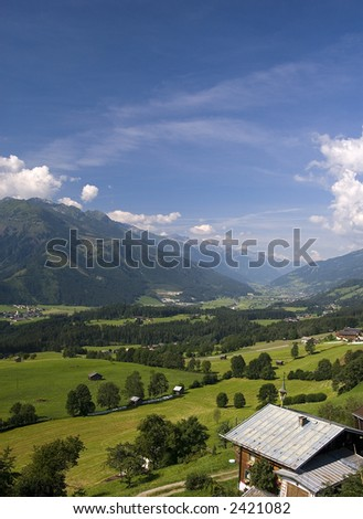 Landscapes with mountin farms and villages in the area of Thun, Tirol, Austria.