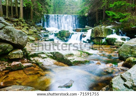 Landscapes with nice waterfalls in winter forest. - stock photo