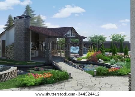 Landscaping decorative pond and garden pavilion, 3D render - stock photo