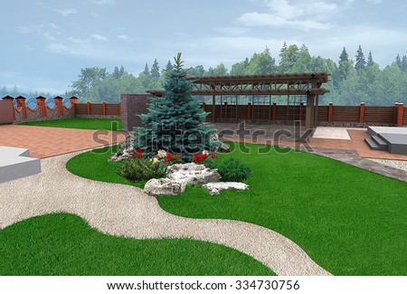 Landscaping  example of backyard decorating, 3D Render - stock photo