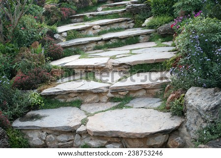 Landscaping in the garden. The path in the garden - stock photo