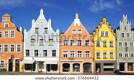 LANDSHUT, GERMANY - MARCH 18, 2012: Ancient unique colourful houses in historic medieval old town. Landshut is one of the towns on the Romantic Road which is located at Bavaria.