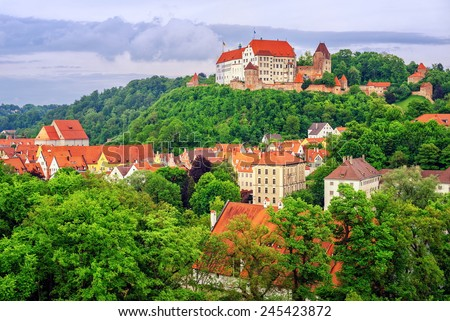 Landshut, medieval town in Bavaria, Germany - stock photo