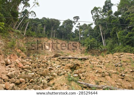 landslide hill - stock photo