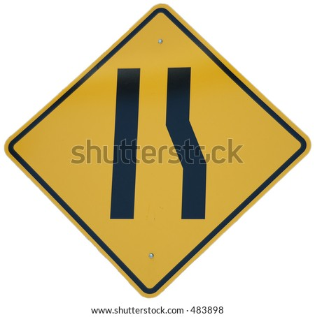 Lane Ends graphic sign - stock photo