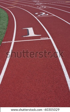 Lane markers and numbers on cross country track. - stock photo