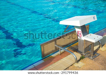 Lane swimming number five. at the source pool. - stock photo