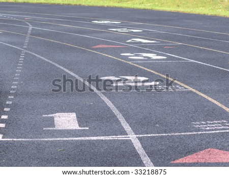 lanes in a track and field - stock photo