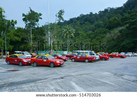 LANGKAWI ISLAND, Malaysia â?? October 19, 2016: Langkawi Cable Car Taxi Park at Oriental Village on October 19 2016 in Langkawi island, Malaysia. Oriental Village offers a quality day out experiences