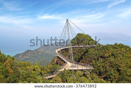 LANGKAWI, MALAYSIA - JANUARY 14, 2014: Langkawi Sky Bridge. Langkawi Sky Bridge is a 125-metre (410 ft) curved pedestrian cable-stayed bridge in Malaysia, completed in 2005.