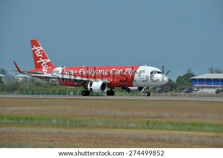 LANGKAWI, MALAYSIA - MARCH 17: AirAsia aircraft Airbus A320-216, Registration name 9M-AQQ, arrived at Langkawi airport  on 17 March, 2015 - stock photo