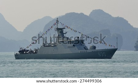 LANGKAWI, MALAYSIA - MARCH 17: KRI Halasan (630) from Indonesia Navy, during The Langkawi International Maritime & Aerospace Exhibition (LIMA 2015) at Langkawi Malaysia on 17 March, 2015  - stock photo