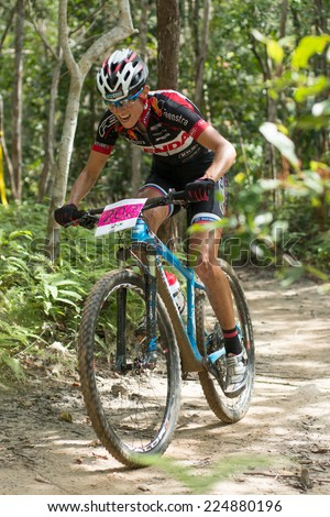 LANGKAWI, MALAYSIA - 16 OCTOBER 2014:  Blaza Klemencic  of Slovenia National Team in action at Tradewinds LIMBC 2014 on October 16, 2014.  - stock photo
