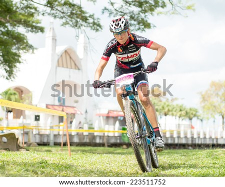 LANGKAWI, MALAYSIA - 13 OCTOBER 2014: Blaza Klemencic of Slovenia National Team in action during Prologue-Individual time trial at Tradewinds LIMBC 2014 on October13, 2014.  - stock photo