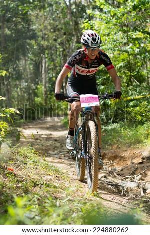 LANGKAWI, MALAYSIA - 16 OCTOBER 2014:  Blaza Klemencic  of Slovenia National Team in at Tradewinds LIMBC 2014 on October 16, 2014.  - stock photo